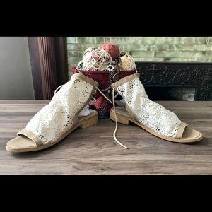 Musse & Cloud lace back tie sandals Sz 8